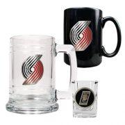 NBA-Portland-Trailblazers-15-Ounce-Tankard-15-Ounce-Ceramic-Mug-2-Ounce-Shot-Glass-Set-Primary-Logo-0